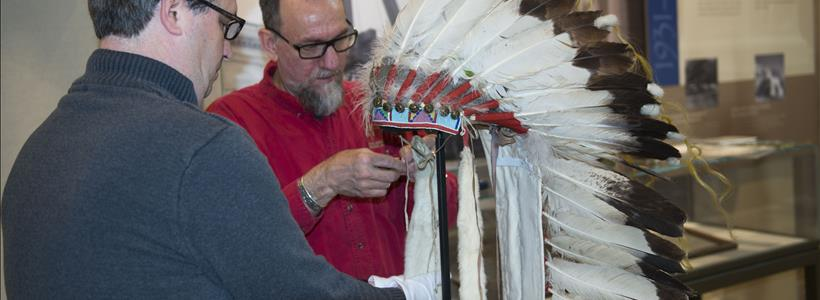 Plenty Coups headdress installation