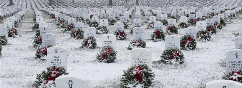 Snow falls in Arlington National Cemetery