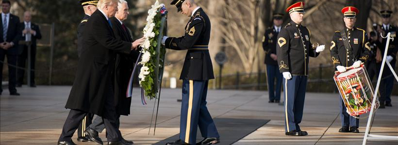 Trump and Pence lay a wreath at Tomb of the Unknown Soldier