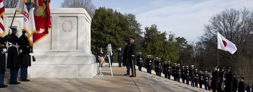The Prime Minister of Japan lays a wreath at the Tomb of the Unknown Soldier in Arlington National Cemetery
