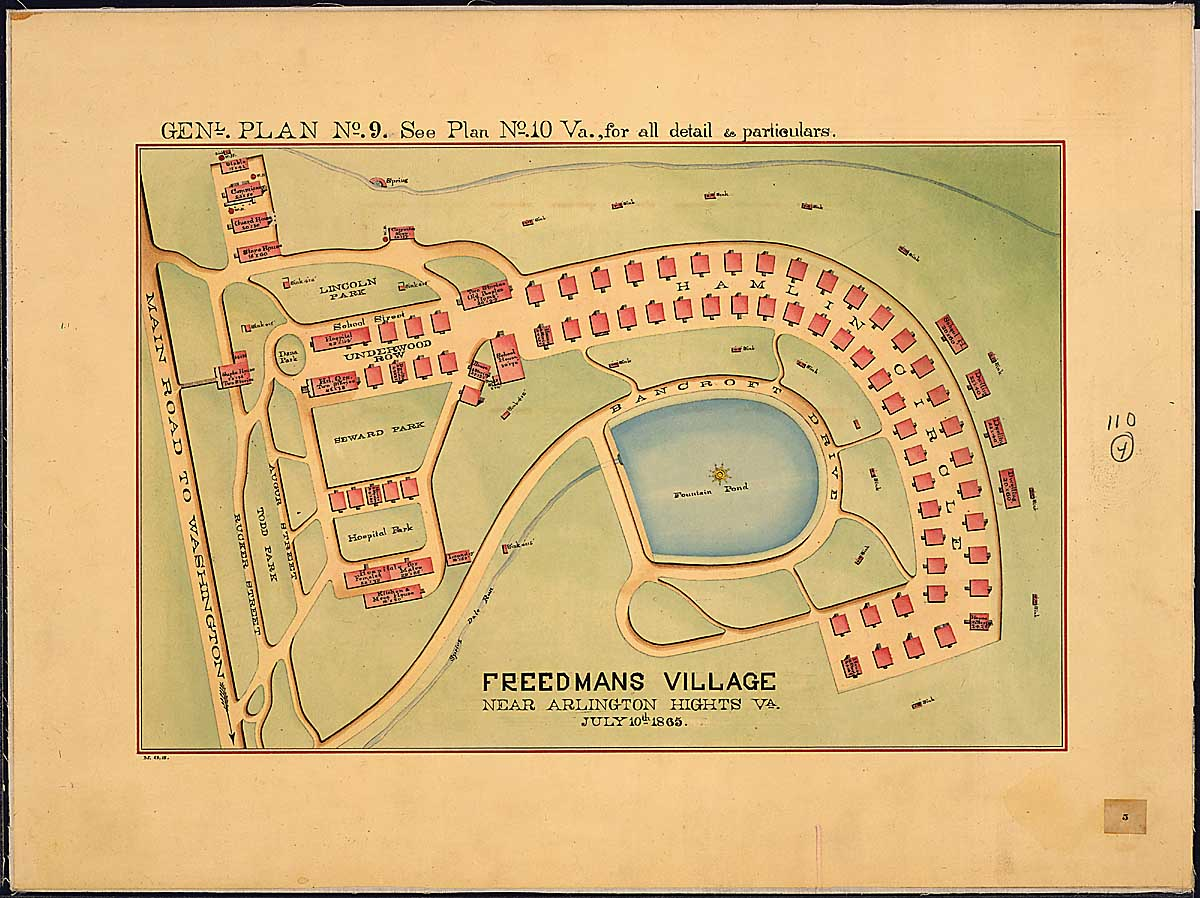 Map of Freedman's Village, Arlington, 1865
