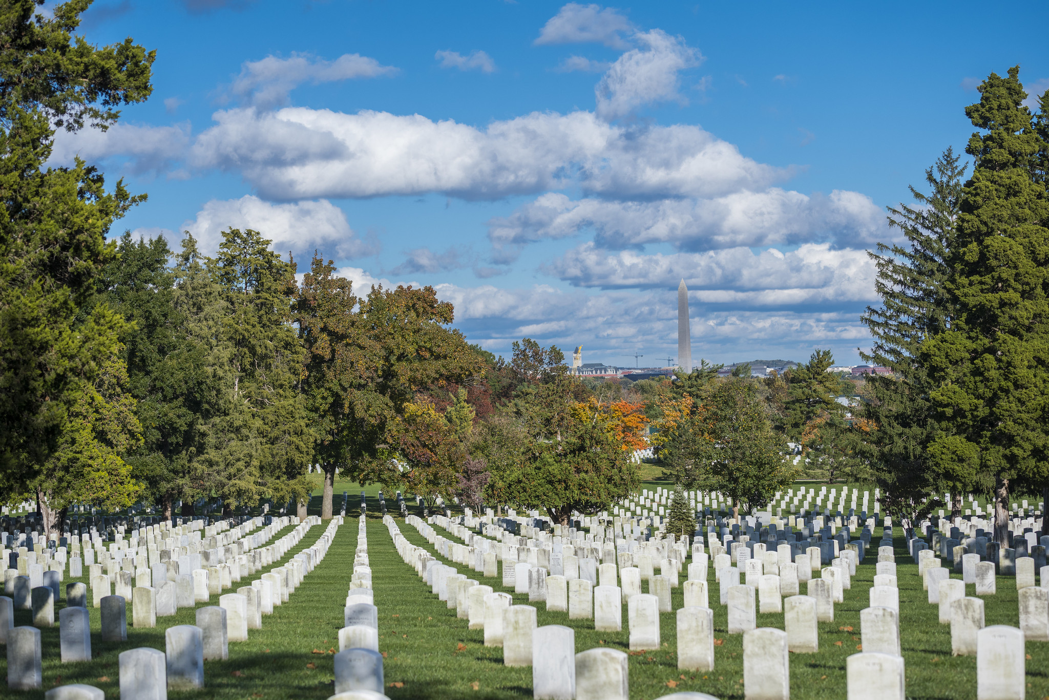 Rows of white gravestones at Arlington National Cemetery, with views of the Washington Monument in the distance