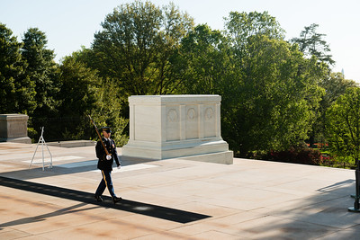 A soldier of the 3rd U.S. Infantry Regiment guards the Tomb of the Unknown Soldier, as this unit has done continuously since April 6, 1948