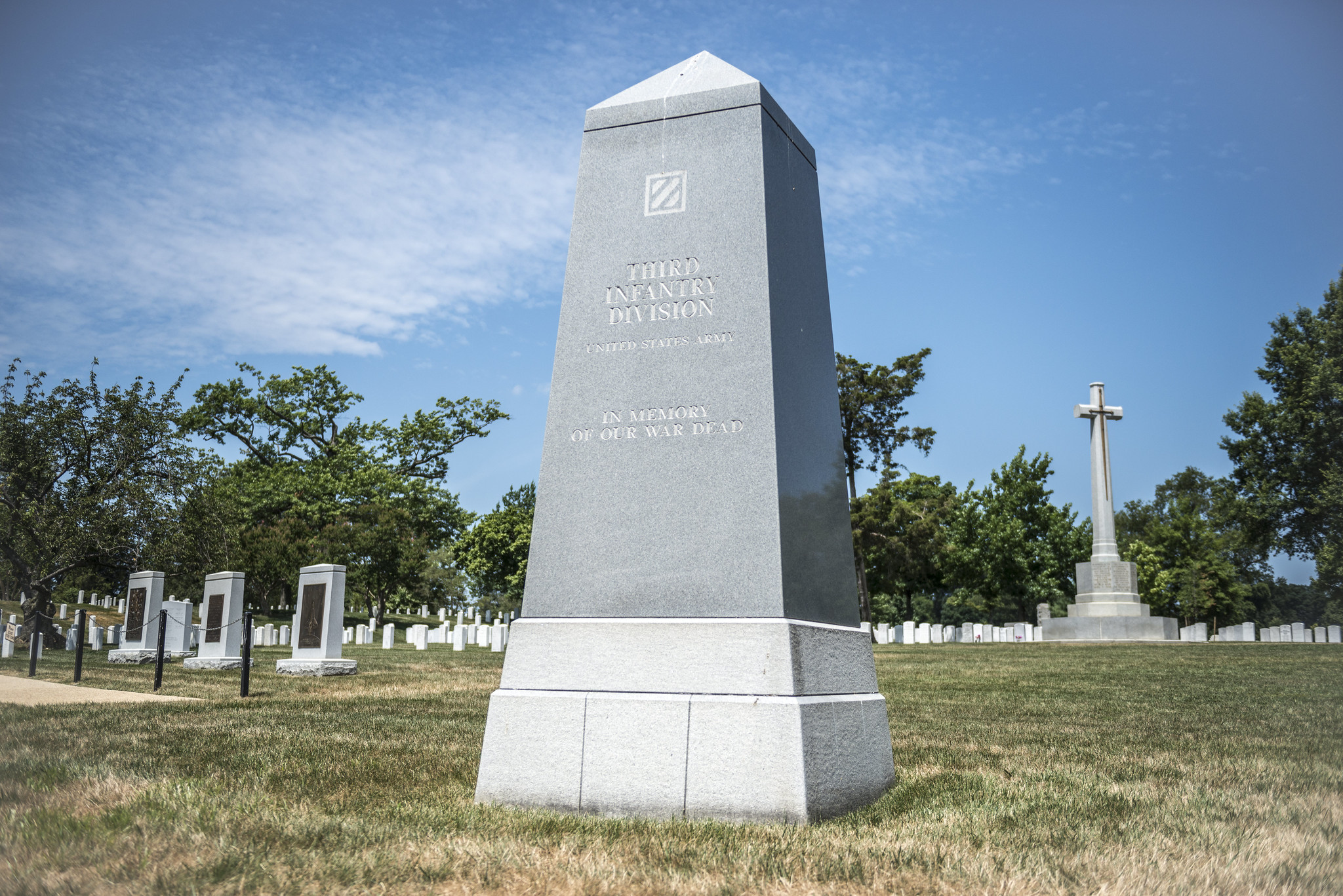 A nine-ton gray obelisk commemorates the service of the Army's 3rd Infantry Division