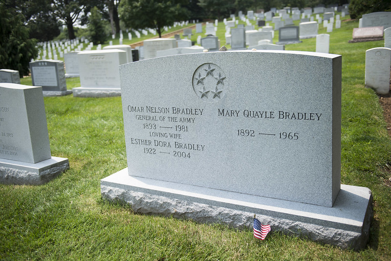 Gravesite of General Omar N. Bradley, one of five five-star military officers buried at Arlington National Cemetery