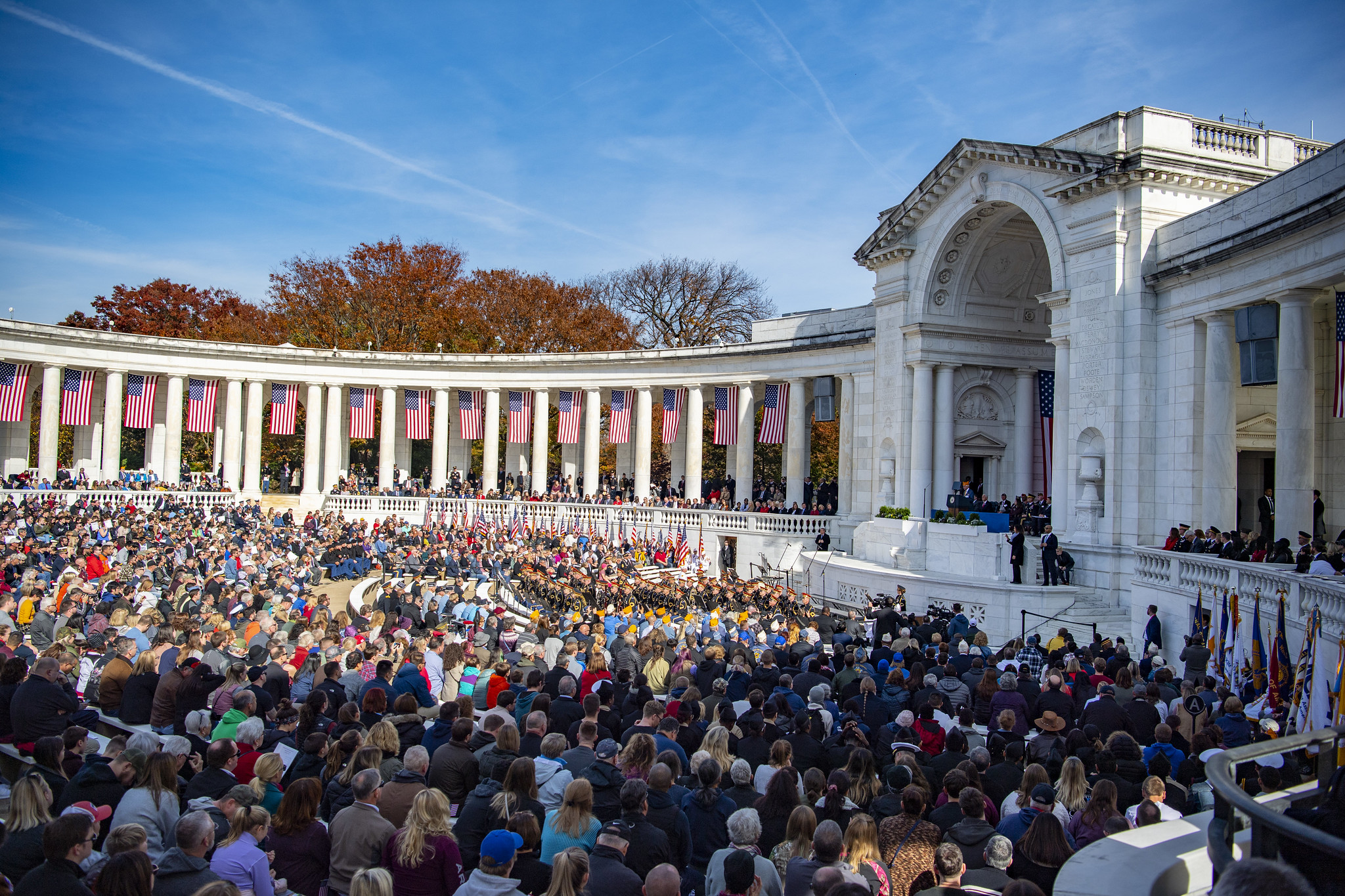 A large crowd at Memorial Amphitheater for National Veterans Day Observance 2019