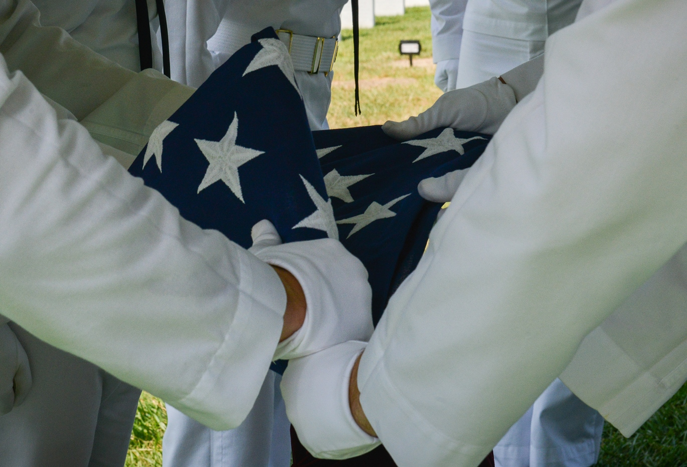 Flag being folded in military burial